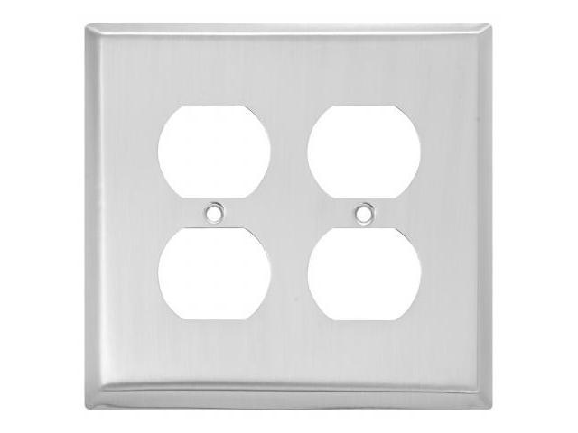 Stanley Hardware Satin Nickel Double Outlet Plate  806182 - Pack of 5
