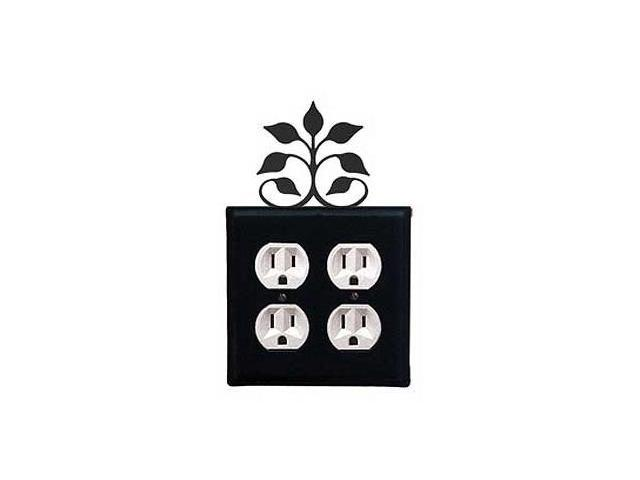Village Wrought Iron EOO-109 Leaf Fan Outlet Cover Double - Black