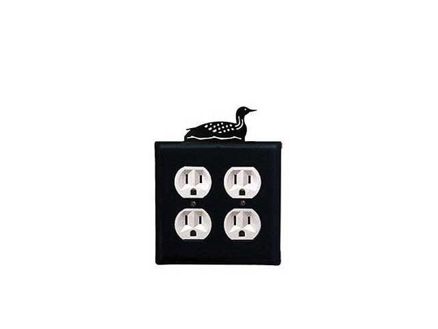 Village Wrought Iron EOO-116 Loon Outlet Cover Double - Black
