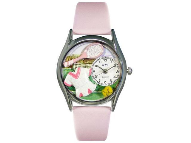 Whimsical Watches S0810015 Tennis Female Pink Leather And Silvertone Watch