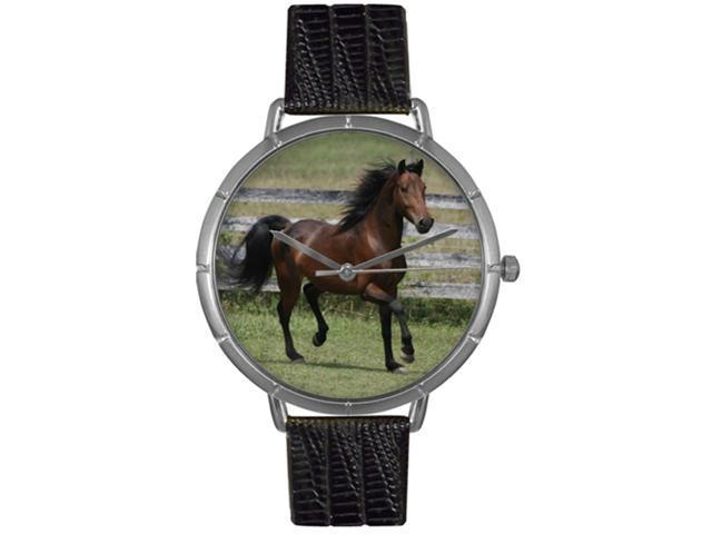 Morgan Horse Black Leather And Silvertone Photo Watch #T0110029