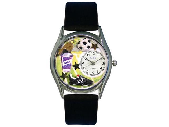 Whimsical Watches S0820020 Soccer Black Leather And Silvertone Watch