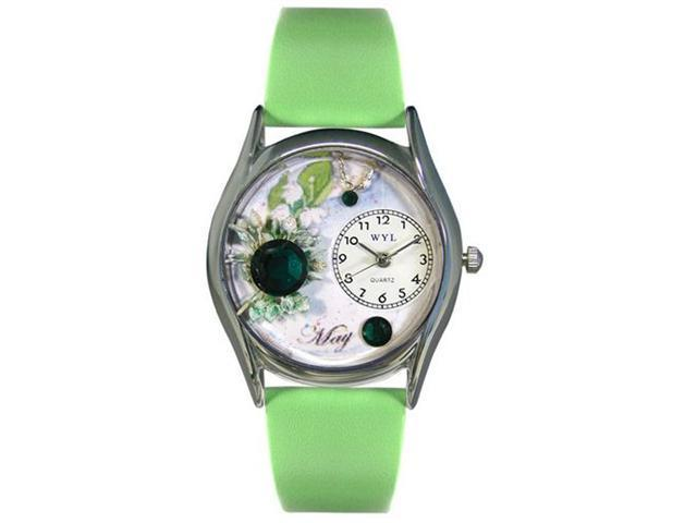 Whimsical Watches S0910005 Birthstone: May Green Leather And Silvertone Watch