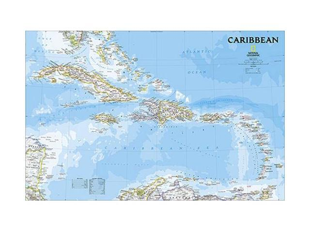 National Geographic Maps RE01020619 Caribbean Classic Wall Map - Laminated
