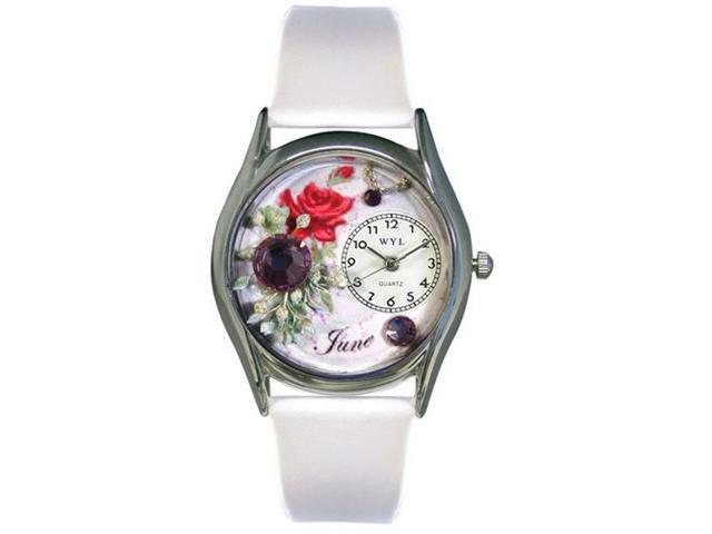 Whimsical Watches S0910006 Birthstone: June White Leather And Silvertone Watch