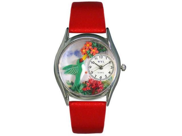Whimsical Watches S1210003 Hummingbirds Red Leather And Silvertone Watch