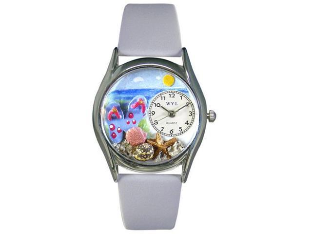 Whimsical Watches S1210013 Flip-flops bay Blue Leather And Silvertone Watch
