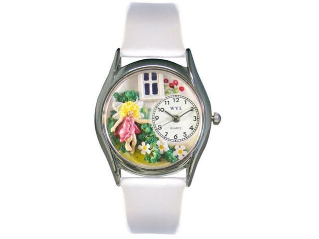 Whimsical Watches S1211003 Daisy Fairy White Leather And Silvertone Watch