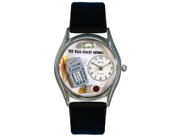 Whimsical Watches S0620003 Accountant Black Leather And Silvertone Watch