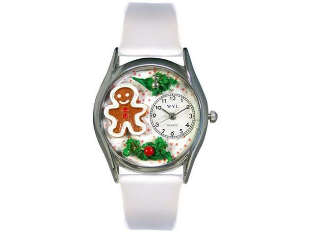Whimsical Watches S1220006 Christmas Gingerbread White Leather And Silvertone Watch