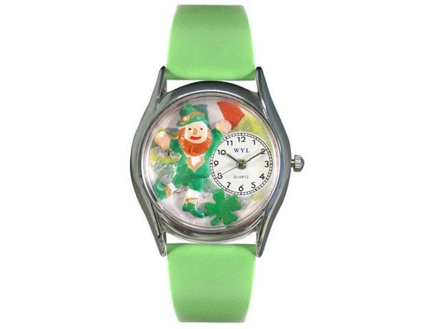 Whimsical Watches S1224003 St.Patricks Day w/ Irish Flag Green Leather And Silvertone Watch