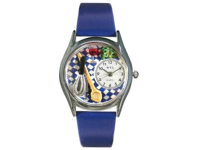 Whimsical Watches S0630009 Chef Royal Blue Leather And Silvertone Watch