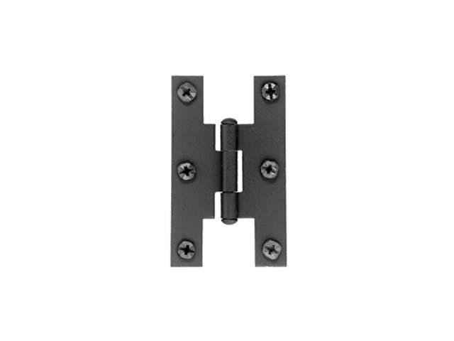 Acorn AH1BQ Smooth Iron Flush Non-Self Closing H Style Cabinet Hinge Pair Flat Black