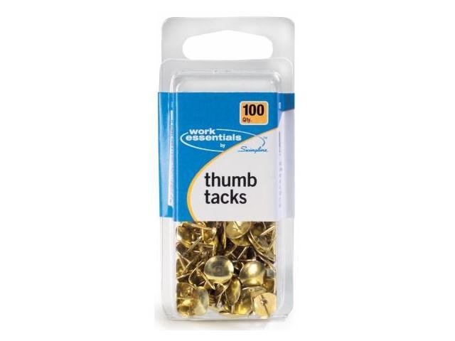 Acco Brands 100 Count Gold Thumb Tacks  S7071752 - Pack of 6