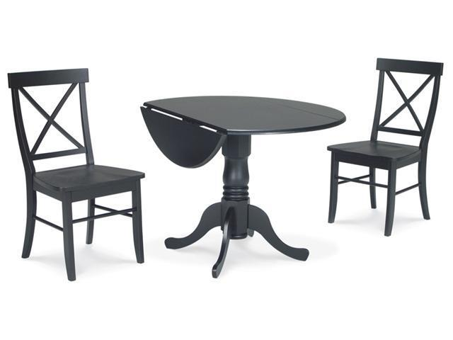 International Concepts K46-42DP-C613-2 3-Piece Dual Drop Leaf Table & X-Back Chairs Set in Black