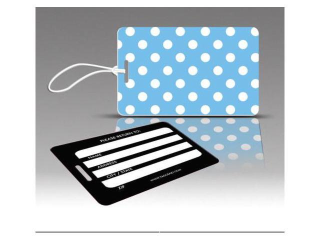 Insight Design 770675 TagCrazy Luggage Tags- Blue and White Polka Dots- Set of Three