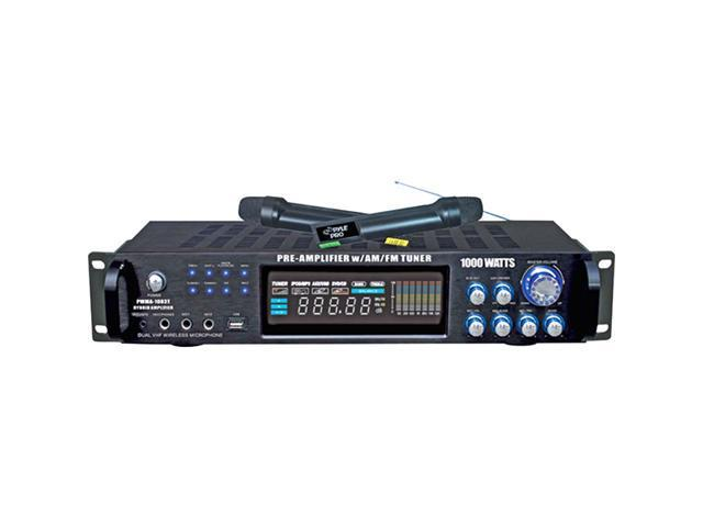 Pyle PWMA1003T 1000-Watt Hybrid Pre-Amplifier with AM-FM Tuner/USB/Dual Wireless Mic