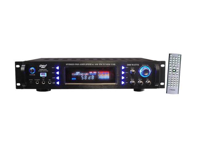 PylePro P3201ATU 3000 Watts Hybrid Pre Amplifier with AM-FM Tuner- USB