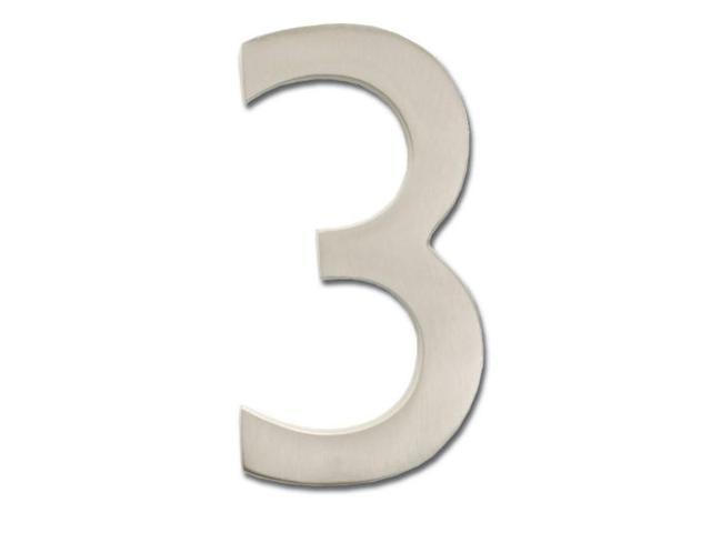 Architectural Mailboxes 3585SN-3 Solid Cast Brass 5 in. Satin Nickel Floating House Number 3