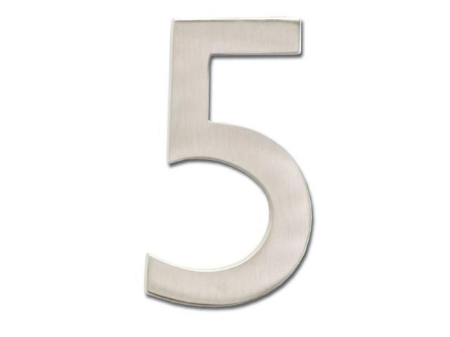 Architectural Mailboxes 3585SN-5 Solid Cast Brass 5 in. Satin Nickel Floating House Number 5