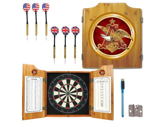 Anheuser Busch A & Eagle Dart Cabinet with Darts and Board