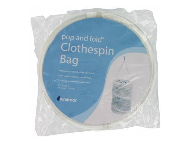 Whitmor Mfg. White Mesh Pop & Fold Clothespin Bag  6233-1258