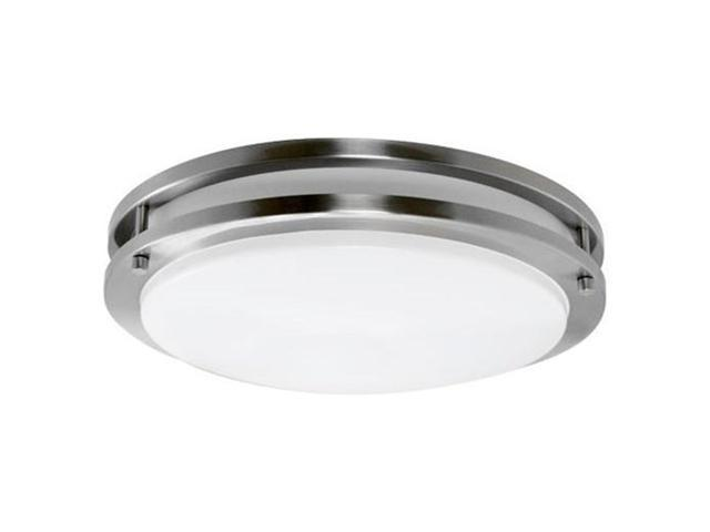 Efficient Lighting EL-825-123 Contemporary Round Flushmount  Brushed Nickel Finish with Acrylic Diffuser  Energy Star Qualified