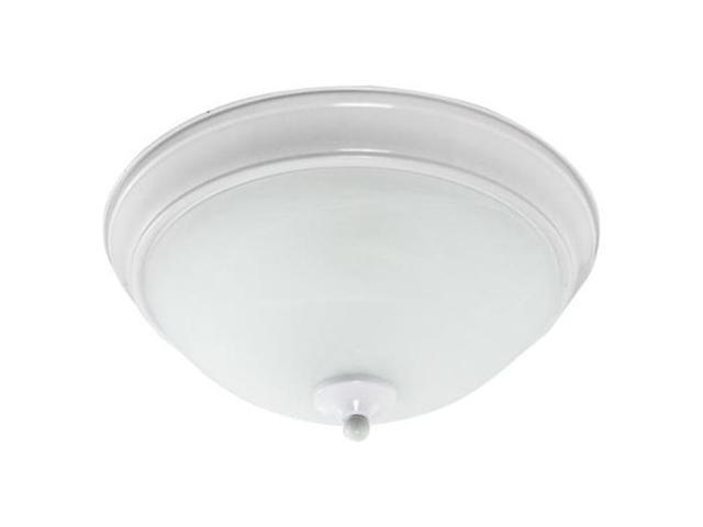 Efficient Lighting EL-810-218-W Classical Flushmount  Powder Coated White Finish with Alabaster Glass  Energy Star Qualified