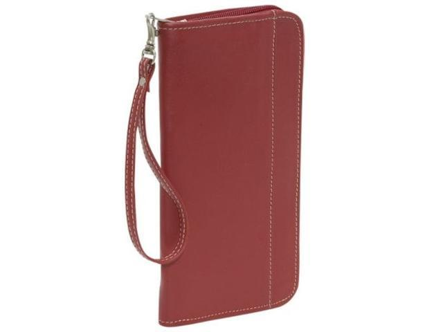Piel Leather 9102-RD Zippered Passport-Ticket Holder - Red