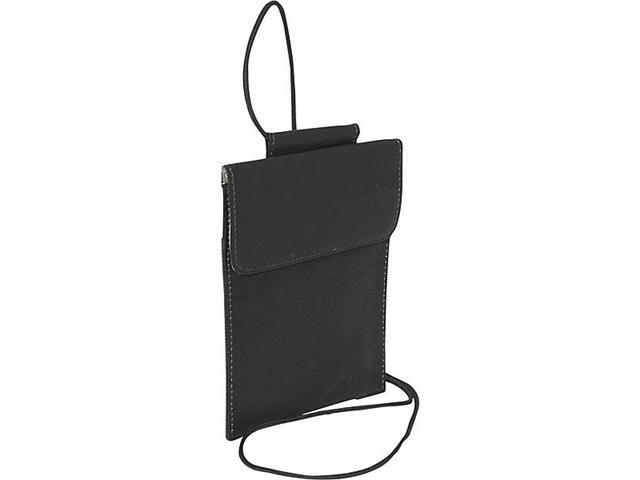 Piel Leather 2854-BLK Hanging Passport Holder - Black