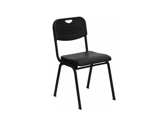 Flash Furniture HERCULES Series 880 lb. Capacity Black Plastic Stack Chair with Black Powder Coated Frame [RUT-GK01-BK-GG]