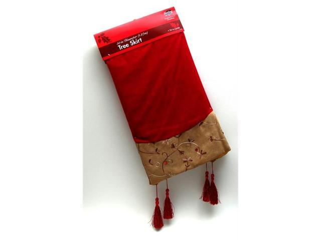 Octagon Burgundy Tapestry Tree Skirt