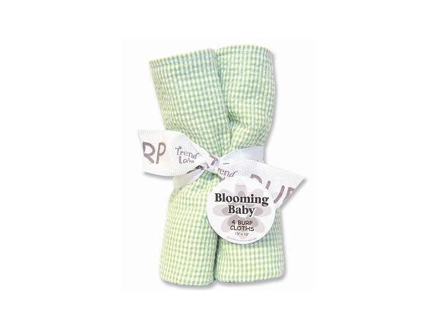 Trend-Lab 102130 Bouquet 4Pk Burp Cloth- Sage Seersucker