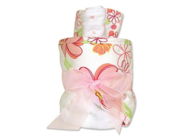 Trend-Lab 109175 4 Piece Hooded Towel Gift Cake- Wht Terry With Hula Baby Large Floral Twill Hood- Trim