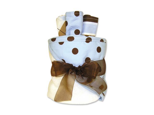 Trend-Lab 109174 4 Piece Hooded Towel Gift Cake- White Terry With Max Dot Percale Hood- Trim