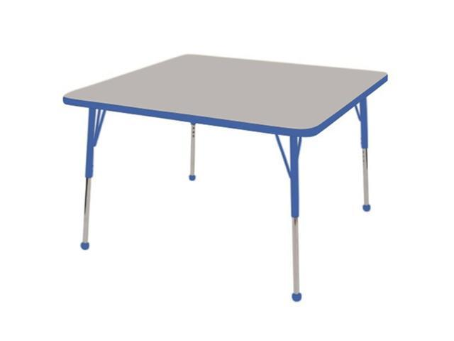 Early Childhood Resource ELR-14116-GBL-TB 30 in. Gray Square Adjustable Activity Table with Blue Edge and Blue Toddler Legs Ball Glide