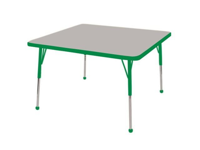 Early Childhood Resource ELR-14116-GGN-TB 30 in. Gray Square Adjustable Activity Table with Green Edge and Green Toddler Legs Ball Glide
