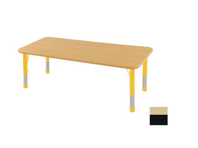 Early Childhood Resource ELR-14109-MBBK-C 24 in. x 72 in. Maple Rectangular Adjustable Activity Table with Black Chunky Leg