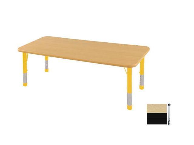 Early Childhood Resource ELR-14109-MBBK-TB 24 in. x 72 in. Maple Rectangular Adjustable Activity Table with Black Edge and Black Toddler Leg Ball Glides