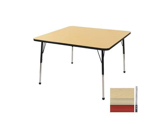 Early Childhood Resource ELR-14116-MMRD-TS 30 in. Maple Square Adjustable Activity Table with Maple Edge and Red Toddler Legs Nylon Swivel Glides