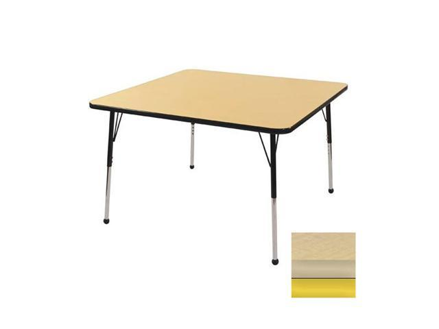 Early Childhood Resource ELR-14116-MMYE-SB 30 in. Maple Square Adjustable Activity Table with Maple Edge and Yellow Standard Leg Ball Glides