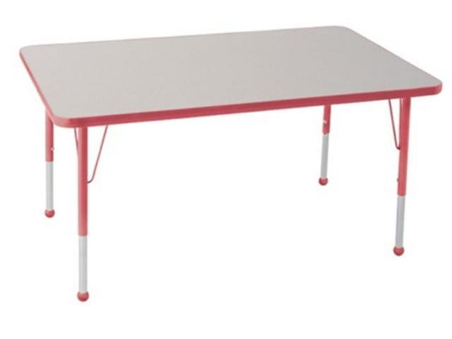 Early Childhood Resource ELR-14111-GRD-TB 30 in. x 60 in. Gray Rectangular Adjustable Activity Table with Red Edge and Red Toddler Leg Ball Glides