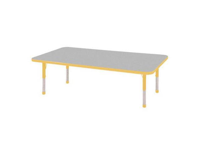 Early Childhood Resource ELR-14111-GYE-C 30 in. x 60 in. Gray Rectangular Adjustable Activity Table with Yellow Chunky Leg