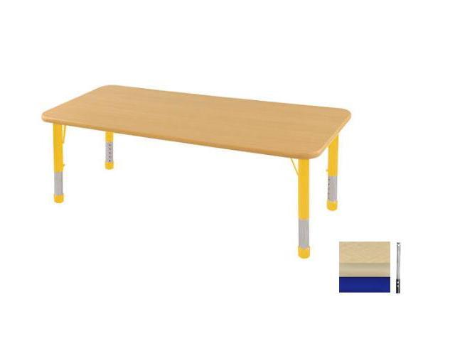 Early Childhood Resource ELR-14109-MMBL-TS 24 in. x 72 in. Maple Rectangular Adjustable Activity Table with Maple Edge and Blue Toddler Legs Nylon Swivel Glides