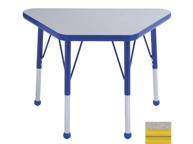 Early Childhood Resource ELR-14118-GYE-TB 18 in. x 30 in. Gray Adjustable Learning Table with Yellow Edge and Toddler Leg Ball Glides