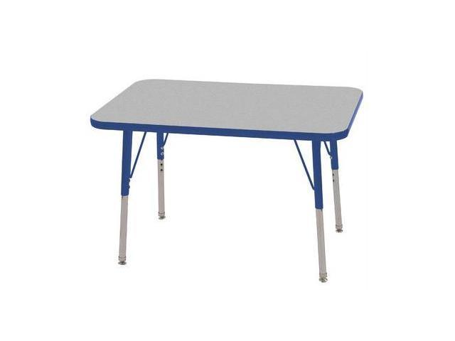 Early Childhood Resource ELR-14106-GBL-SS 24 in. x 36 in. Gray Rectangular Adjustable Activity Table with Blue Edge and Blue Standard Leg Nylon Swivel Glides
