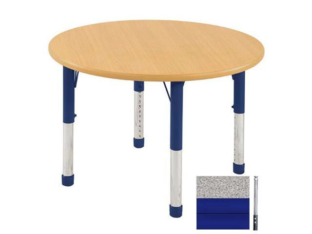 Early Childhood Resource ELR-14114-GBL-SS 36 in. Gray Round Adjustable Activity Table with Maple Edge and Blue Standard Leg Nylon Swivel Glides