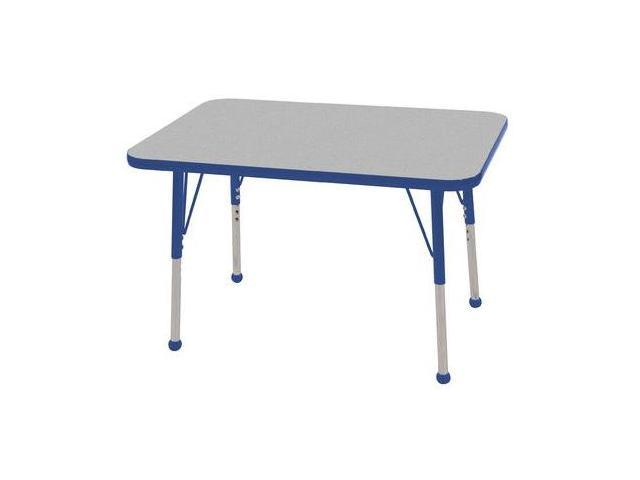 Early Childhood Resource ELR-14106-GBL-TB 24 in. x 36 in. Gray Rectangular Adjustable Activity Table with Blue Edge and Blue Toddler Leg Ball Glides