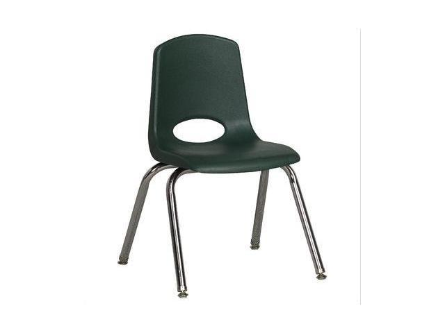 Early Childhood Resource ELR-0194-HGG 14 in. School Stack Chair with Chrome Swivel Glide Legs - Hunter