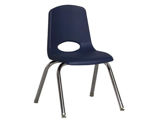 Early Childhood Resource ELR-0194-NVG 14 in. School Stack Chair with Chrome Swivel Glide Legs - Navy